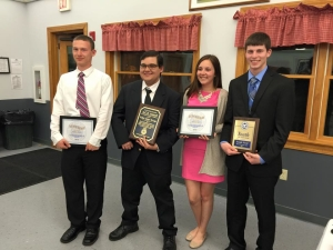 The 2015 Scholarship recipients (standing from left to right): Third Place Youth of the Year recipient, Nicholas Savino from Bristol Central High School; Bill & Lois Wagenknecht A.C.E. of the Year recipient, Filipe Garay-Ortega from Bristol Central High School; John Breen Second Place Youth of the Year Award recipient, Michaela Sassu from Bristol Eastern High School; ; and the Ernest A. Brandt Youth of the Year recipient, Joseph Strid from Saint Paul Catholic High School.